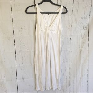 James Perse White Gathered Front Tank Dress.